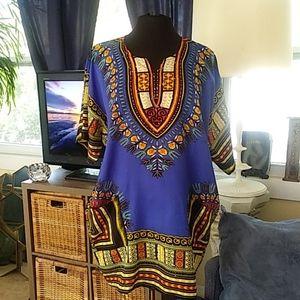 NWT True Rock blue dashiki shirt one size
